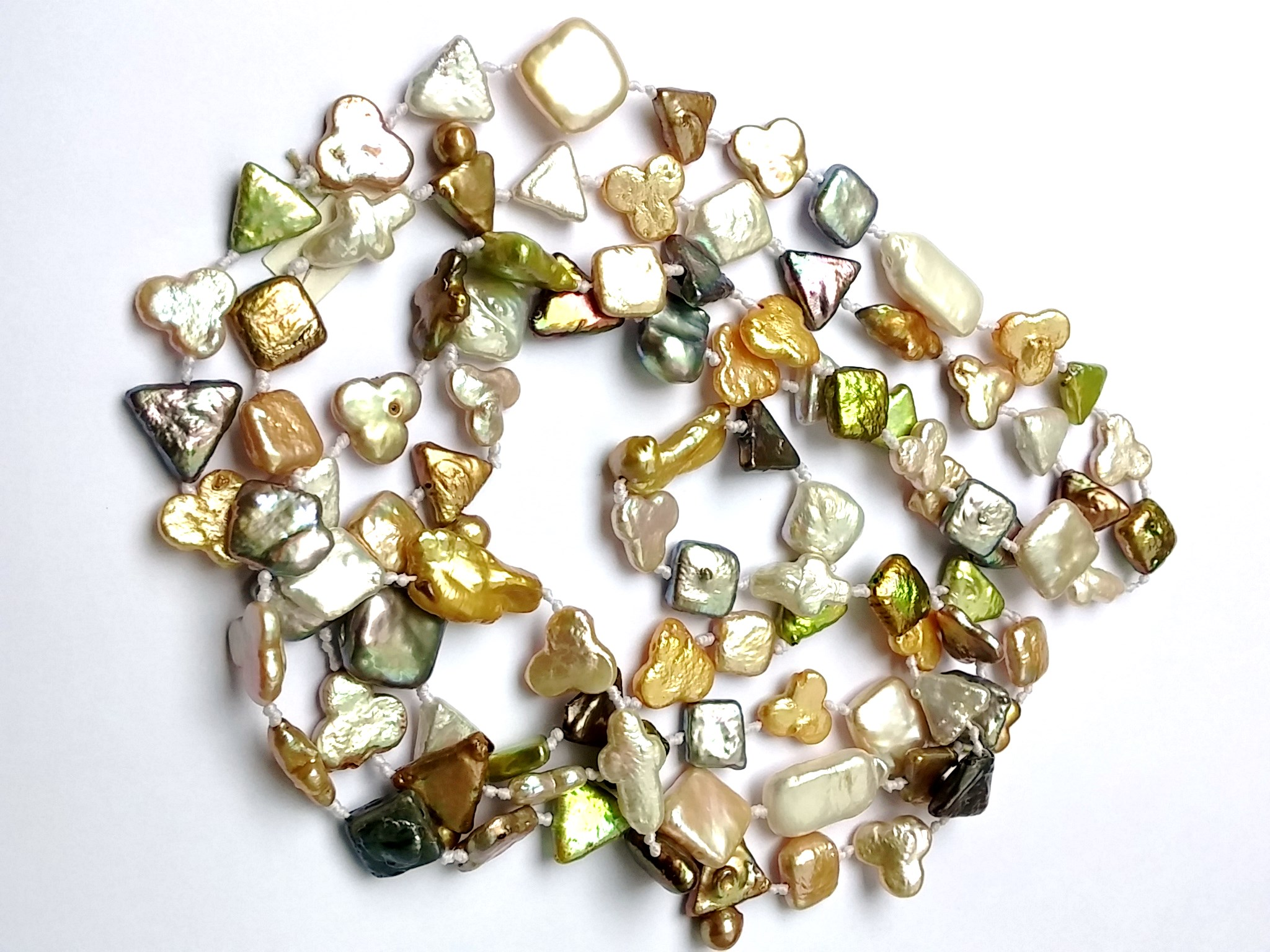 Freshwater Pearl Necklace, Paster Colors and Mixed Shapes