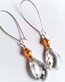White Faceted Crystal Briollet Drop Earrings