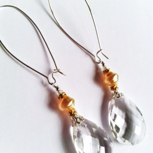 White Faceted Crystal Briollet Drop Earrings