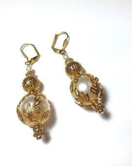Ornate With Elegance - 13mm Pearl Drop Earrings
