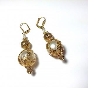 Ornate With Elegance - 13mm Pearl Drop Earrings