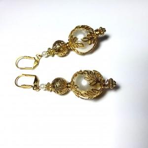 Ornate With Elegance - 13mm White Pearl Drop Earrings