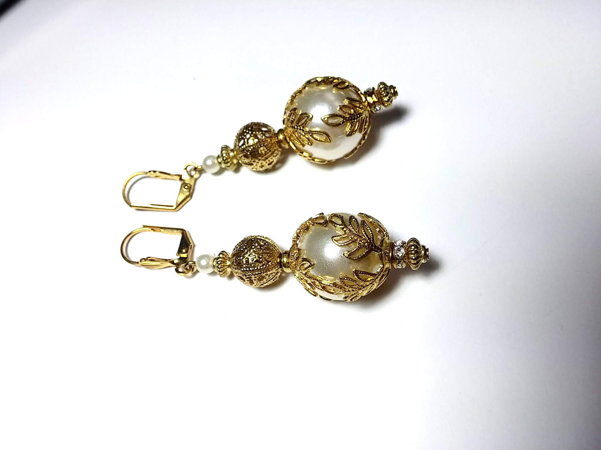Ornate With Elegance - 13mm White Pearl Drop Earrings