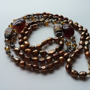 """Coppery Brown Freshwater Pearl Necklace - 27 1/2 """" Long"""