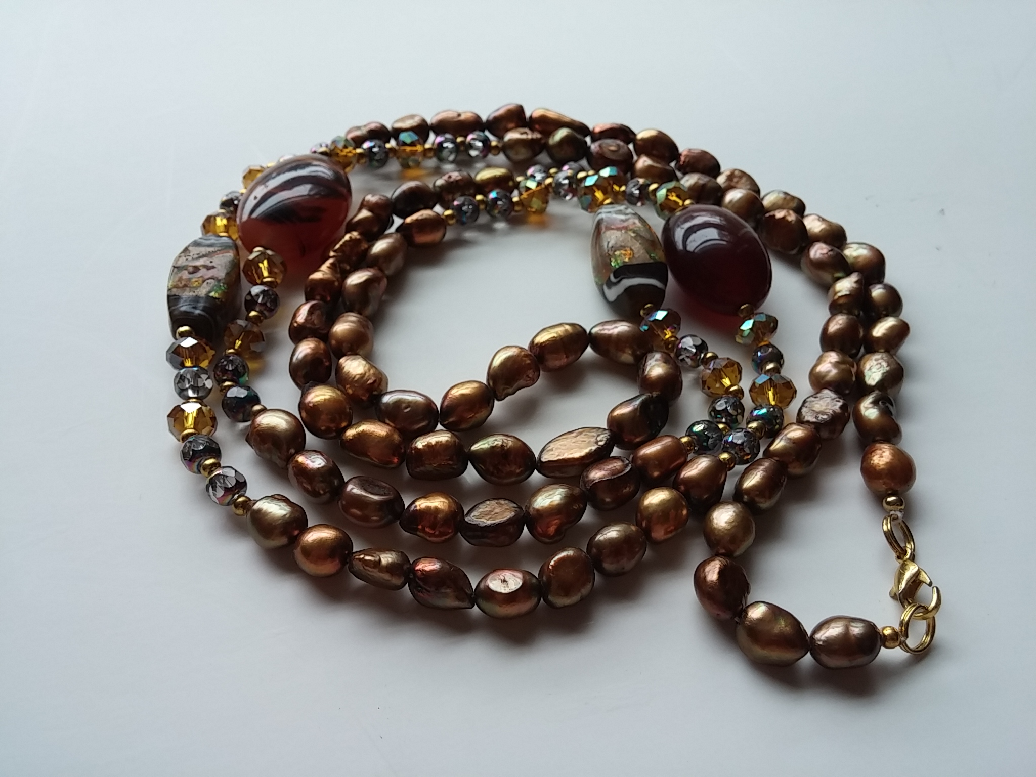 "Coppery Brown Freshwater Pearl Necklace - 27 1/2 "" Long"