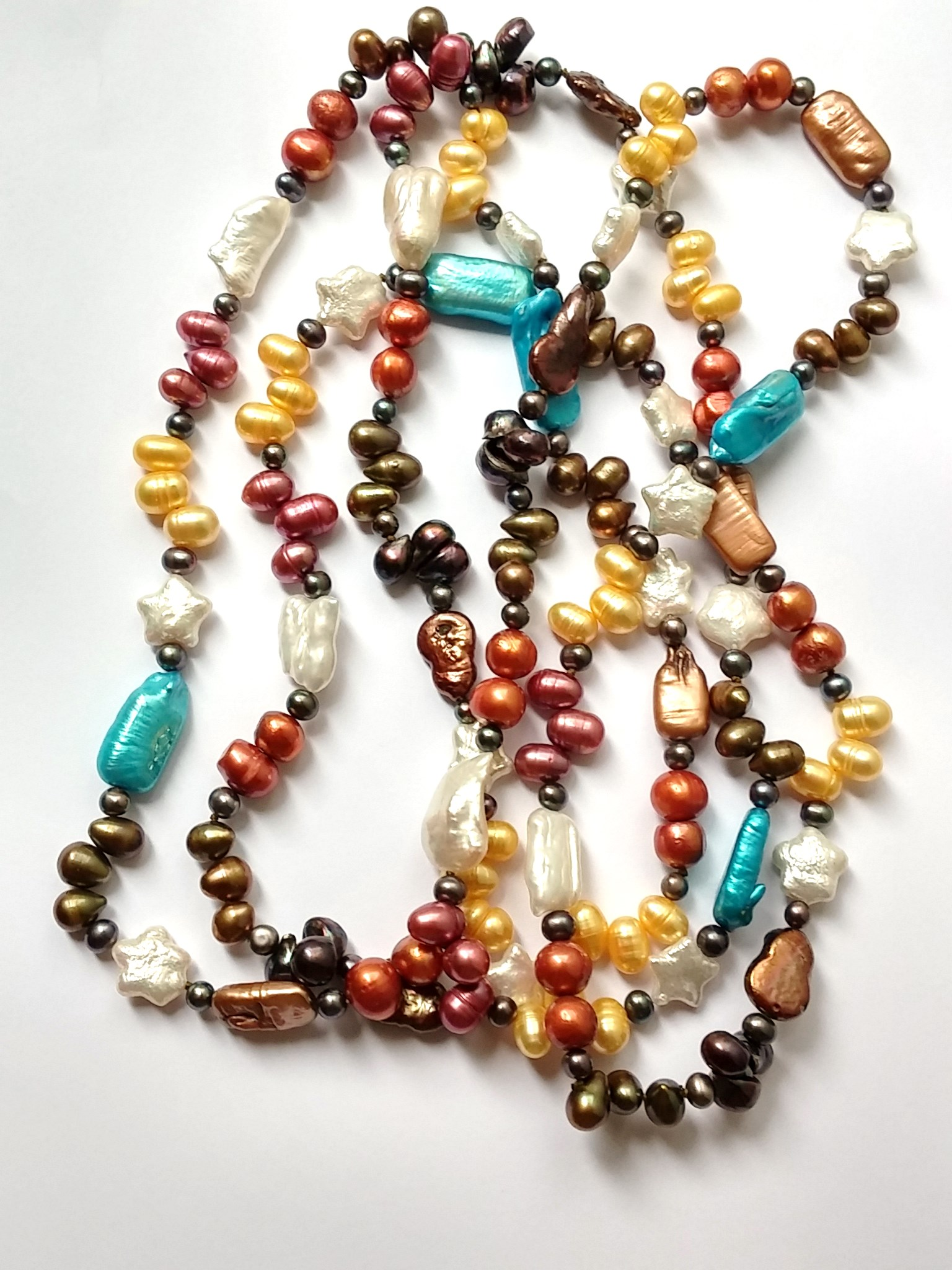 Lovely Freshwater Pearl Necklace in Mixed Colors and Shapes