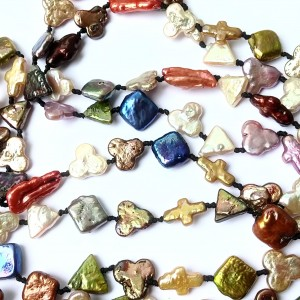 Freshwater Pearl Necklace in Mixed Colors and Shapes - 29 1/2 Inch Necklace