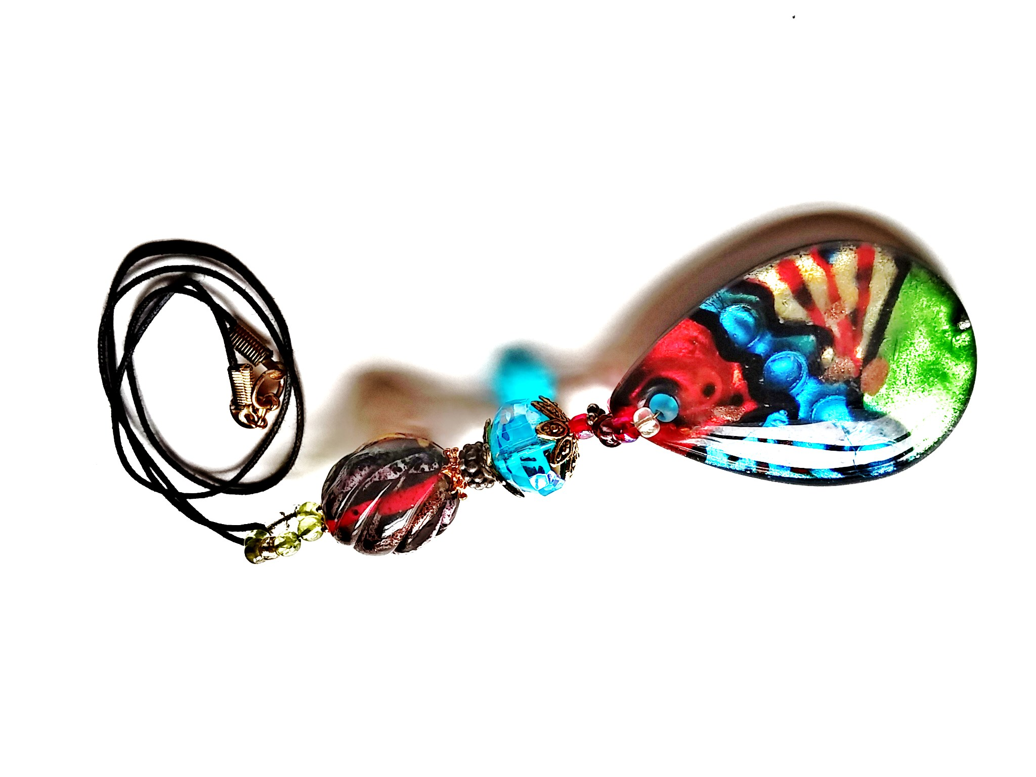 Multi-Color Lampwork Bead and Crystal Necklace