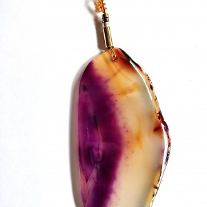Natural Agate Pendant featuring Hues of Purple and Brown