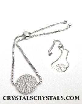 15 mm Round Pavé Disc Adjustable Line Bracelet