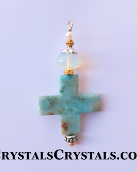 Blue Onyx Cross Pendant w/ Rainbow Opalite