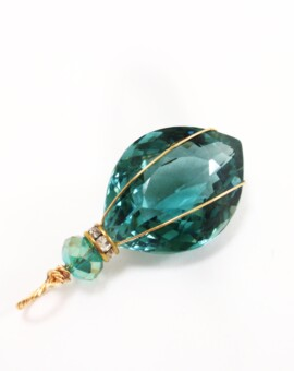 25+ Ct. Aqua Marquise Cut Topaz Wire-Wrapped Pendant
