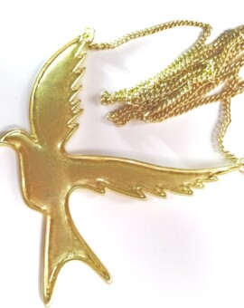 Vintage Goldtone Bird in Flight
