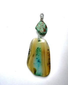 Natural Agate Pendant - Hues of Turquoise and Wheat