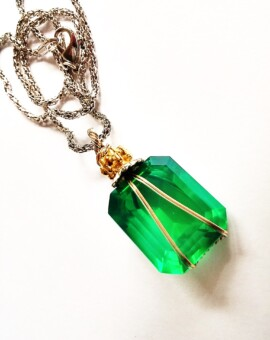Lovely 18x18mm Lab Created Emerald Hand Wrapped Pendant