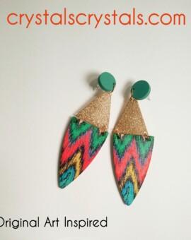 Original art inspired earrings. Elegant daytime to evening styling.